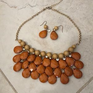 Orange necklace and earring set